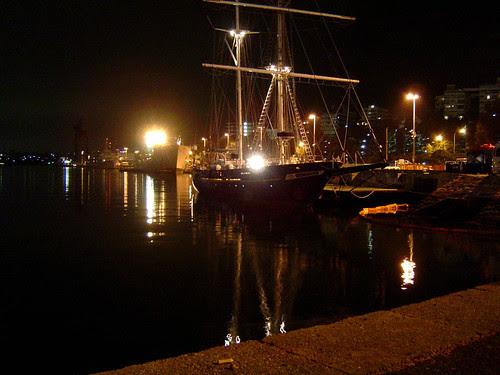 Night wharf, with ship!