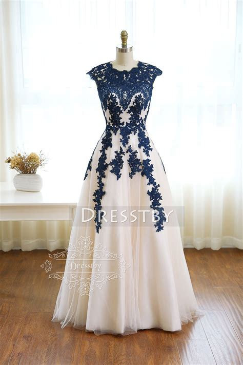 Dark blue round neck tulle lace long prom dress