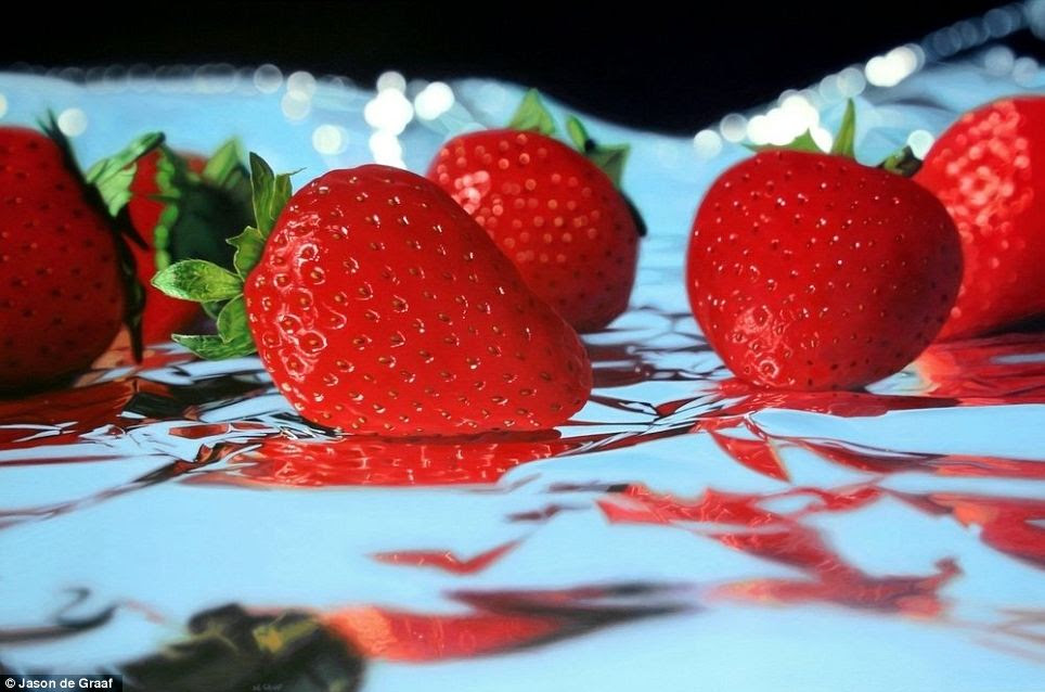 Strawberries on Foil: Acrylic on canvas 36in x 24in