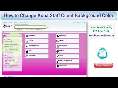 How to Change Koha Staff Client Background Color or Image