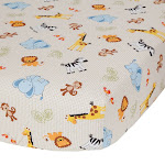 Jungle Buddies Beige Safari Animals Fitted Baby Crib Sheet - Bedtime Originals