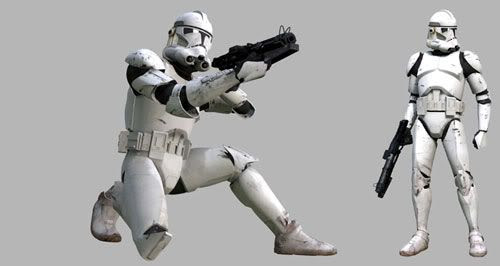 Two CG images of a clonetrooper.