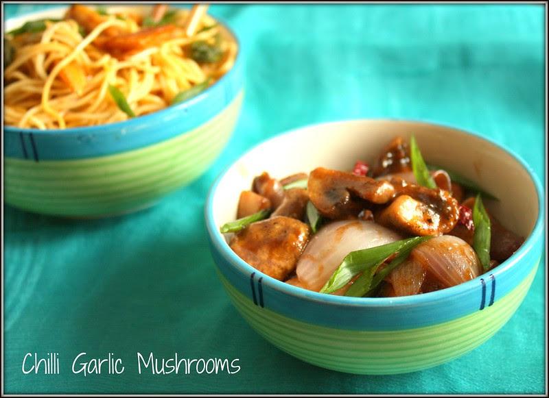 chilli garlic mushrooms