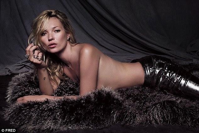Furry nice: Kate Moss retira e vai topless com apenas um tapete para proteger sua modéstia como ela modelo de sua nova coleção de jóias para a empresa francesa Fred