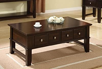 Espresso Finish Coffee Table with Drawers