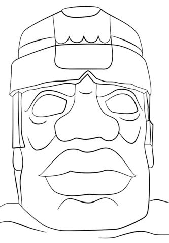 Desenho De Cabeça Colossal Olmeca Para Colorir Desenhos Para