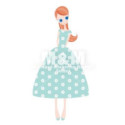 イラスト素材 Woman 28 ライトブルーの花柄ドレスの女の子 Mm