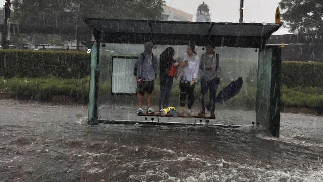 Pedestrians stand on top of a bus stop seat in Randwick, eastern Sydney, as flood water rages below them. Picture: Julia Wheeler