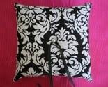 DAMASK Wedding Ring Bearer Pillow in BLACK and White
