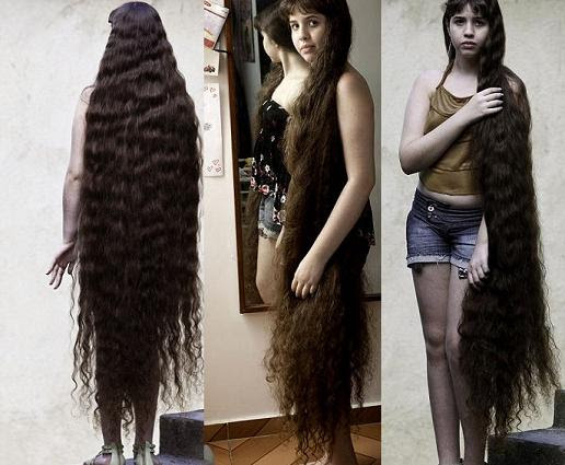 Natasha Moraes de Andrade 7 12 Year Old Girl With Longest Hair: 5 Feet 2 Inches Long Pictures Seen on www.VyperLook.com
