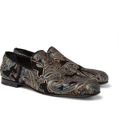 Jimmy ChooSloane Paisley-Embroidered Velvet Slippers