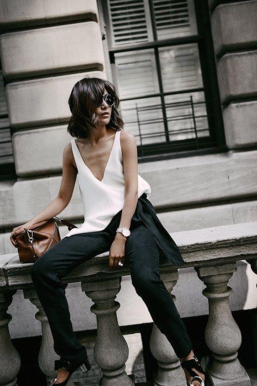 Le Fashion Blog White Tank Shirt Black Harem Pants Brown Bag Via Z Hours