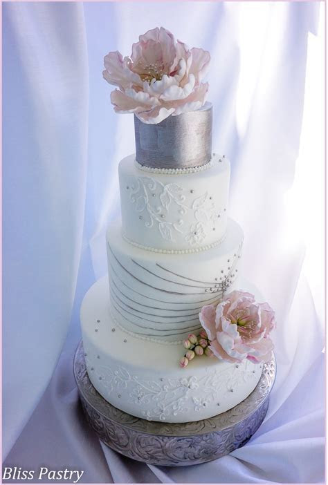 White And Silver Wedding Cake   CakeCentral.com