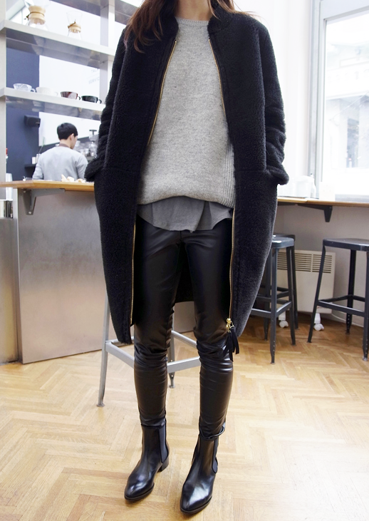 Le Fashion Blog Sleek Winter Look Cocoon Coat Layered Sweater And Shirt Leather Pants Pointed Toe Boots Via Death By Elocution