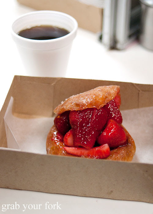 fresh strawberry filled donut at the donut man inglewood la los angeles