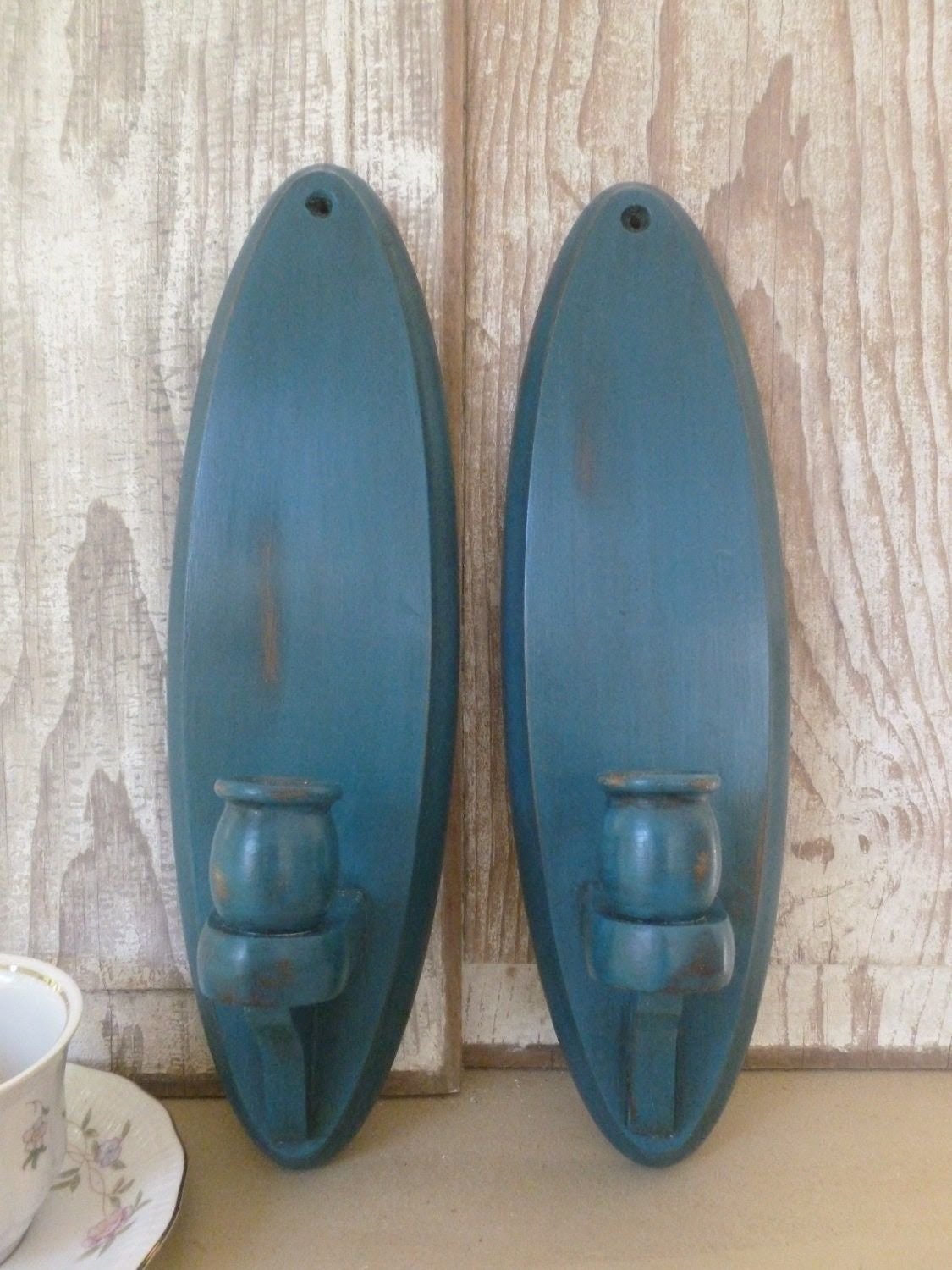 Wooden Wall Sconces Candle Holders Painted Teal by beckibees