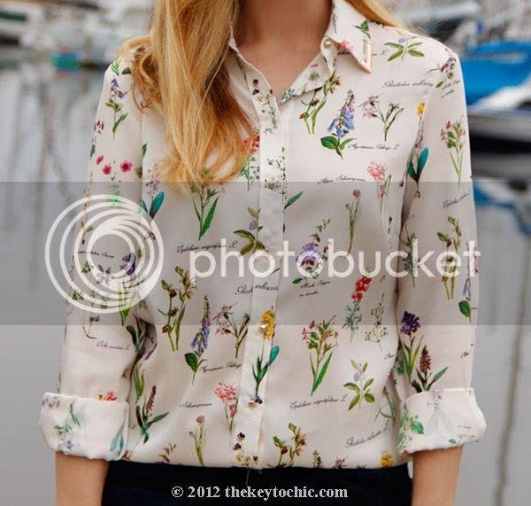 Zara botanical blouse, Zara chiffon floral print shirt