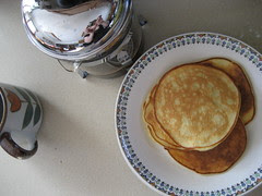 french press + pancakes