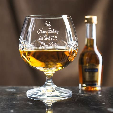 Engraved Crystal Brandy Glass and Brandy Gift Set
