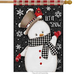 Briarwood Lane Celebrate Winter Snowman Primitive House Flag, Red/White