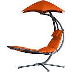 Vivere The Original Dream Lounger Steel Backyard Patio Deck Chair, Orange Zest by VM Express