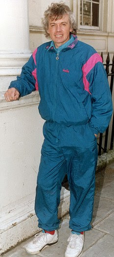 Superstitious: Icke used to wear this fetching turquoise tracksuit as it supposedly channelled positive energy to him