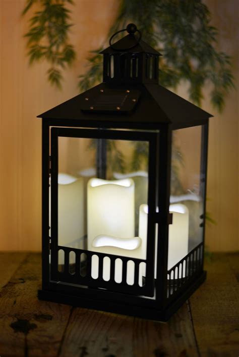 Solar Lantern Black with 3 Candles 16in (Set of 3