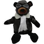 "PilotMall.com 18"" Black Bear Plush Corduroy Aviator"