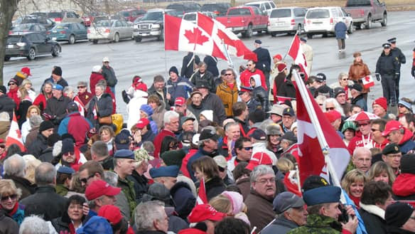 Hundreds of people came together Saturday to show their support  for troops at CFB Trenton.