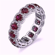 4.46ct Round Diamond Ruby Halo Eternity Ring Wedding Band