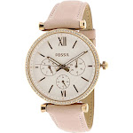 Fossil Women's ES4544 Carlie Multifunction Rose Gold-Tone Leather Watch