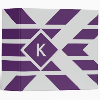 Purple Parallelogram Stripes on Gray with Monogram