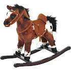 Qaba Plush Ride on Rocking Horse with Sound, Brown