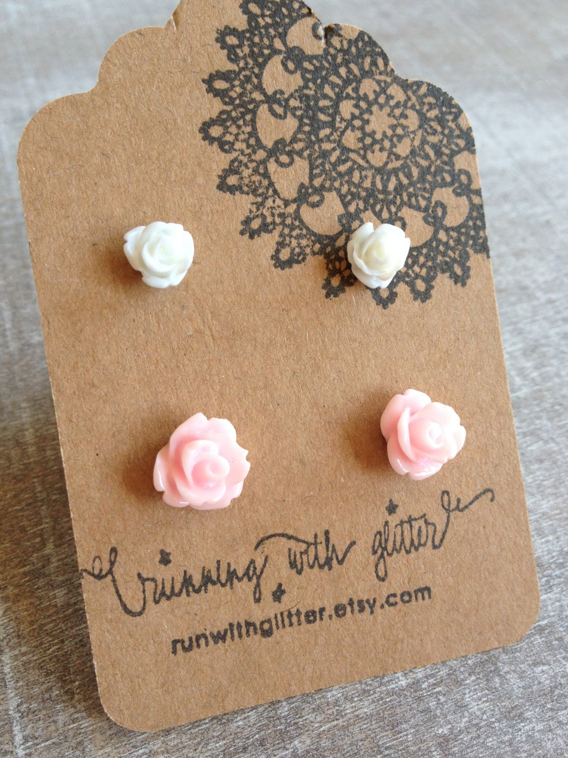 White and Light Pink Rose Earring Studs