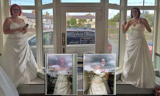 Bride wins £5,000 for standing in a wedding shop window for 58 hours
