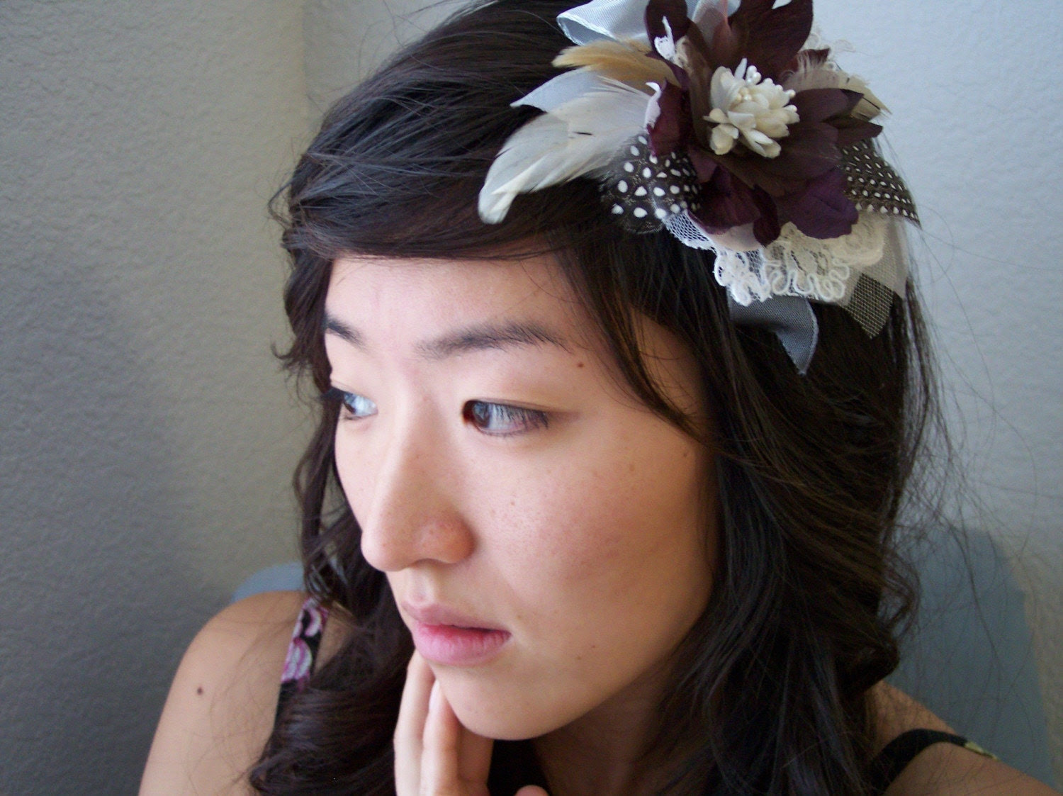 Feather and Flower Hairpiece - Silk, Chiffon, Lace, Bridal, Wedding, Accessory, Hair, Pin