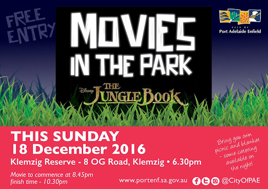 "City of PAE on Twitter: ""Klemzig Reserve sets the backdrop for a FREE open-air cinema. Bring a rug, a picnic basket & your family to watch The Jungle Book #Adelaide """