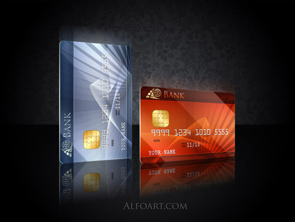 Process of making a platinum credit card using Photoshop