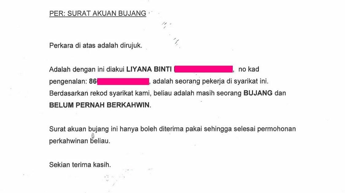 Surat Rasmi Akuan Bujang Surat R