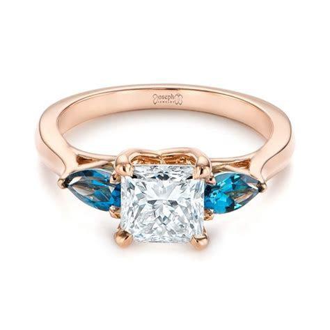 Custom Three Stone London Blue Topaz And Diamond