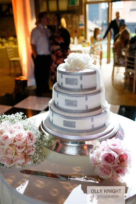 A wedding cake made to look like drums at Alex & Donna's