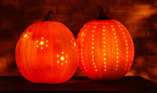 Halloween ideas - Easy drilled pumpkins