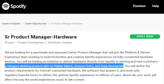 Spotify to move into hardware space?