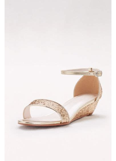 Glittery Low Wedge Sandals   David's Bridal