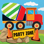 Construction Party Beverage Napkins, 16ct, Size: 5 inch x 5 inch, Multicolor