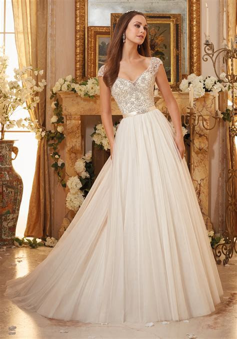 Embroidery on Soft Tulle Ball Gown Wedding Dress   Style