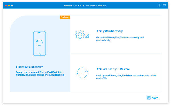 Screenshot of AnyMP4 Free iPhone Data Recovery for Mac