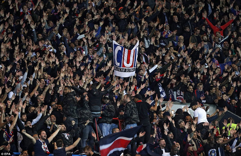 The PSG fans appeared in good voice at their Parc des Princes stadium as they hosted Basle in the Champions League
