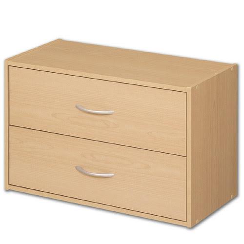 Stacking Two Drawer Storage Chest - Alder in Storage Cubes