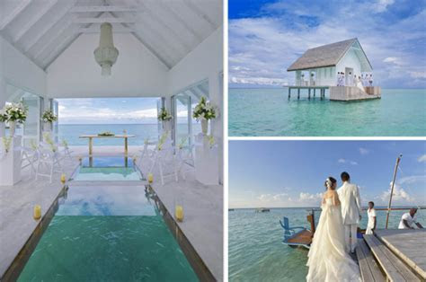 Maldives resort opens overwater wedding venue with glass